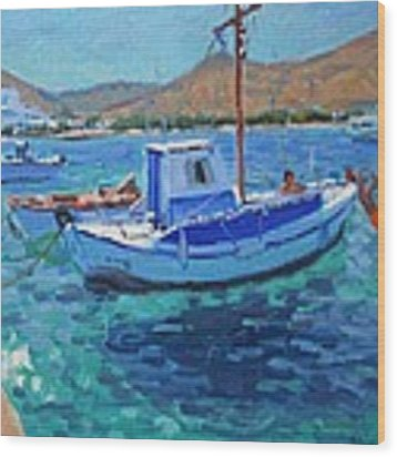 The Harbor  Tinos Wood Print by Andrew Macara