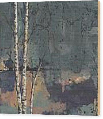 Three Birches Wood Print by John Wyckoff