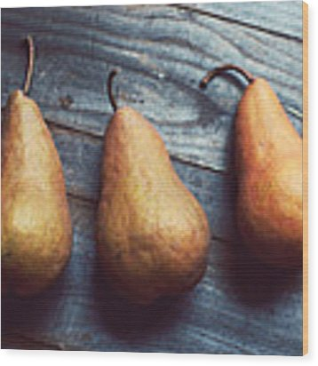 Three Gold Pears Wood Print