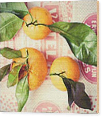 Three Tangerines Wood Print by Lupen  Grainne