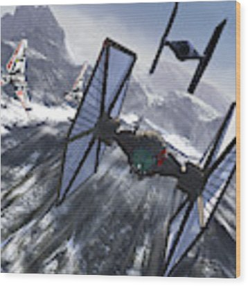 Tie Fighters On Patrol Over An Artic Wood Print by Kurt Miller