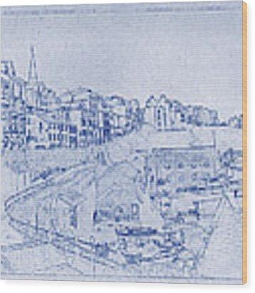 Trenby Bay Blueprint Wood Print
