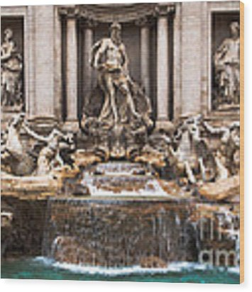 Trevi Fountain Wood Print by John Wadleigh