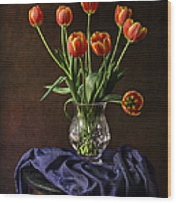 Tulips In A Crystal Vase Wood Print by Endre Balogh