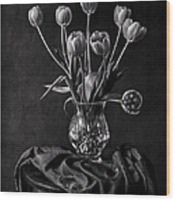 Tulips In A Vase Black And White Wood Print by Endre Balogh