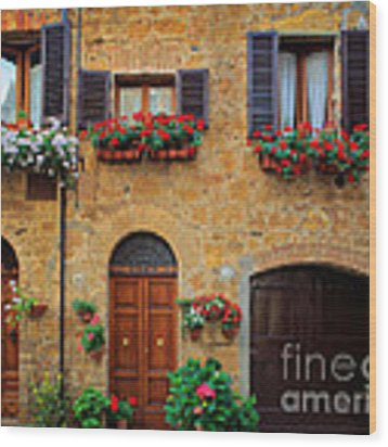 Tuscan Homes Wood Print