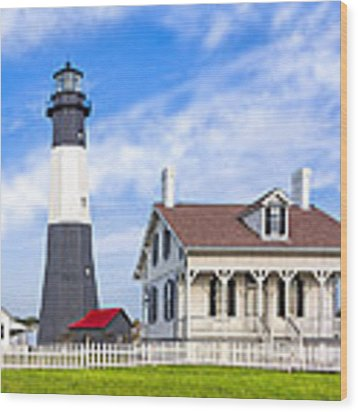 Tybee Island Lighthouse At Dawn Wood Print by Mark E Tisdale
