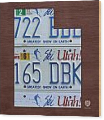 Utah State License Plate Map Wood Print by Design Turnpike