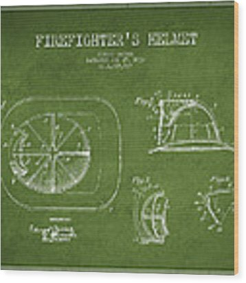 Vintage Firefighter Helmet Patent Drawing From 1932 - Green Wood Print by Aged Pixel