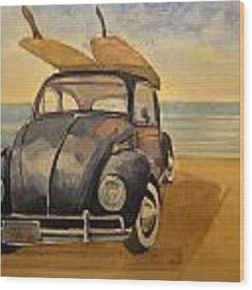 Volkswagen Beetle Wood Print by Juan  Bosco