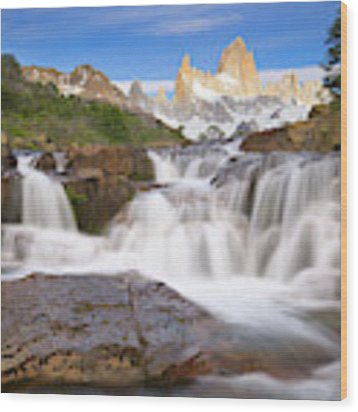 Los Glaciares Waterfall Wood Print by Yva Momatiuk John Eastcott