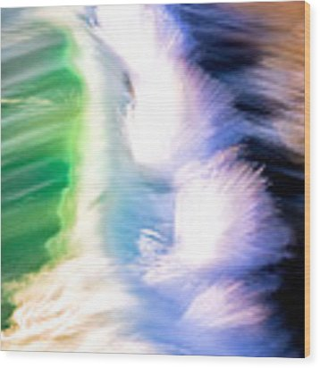 Wave Abstract Triptych 3 Wood Print by Brad Brizek
