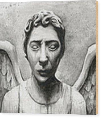 Weeping Angel Don't Blink Doctor Who Fan Art Wood Print