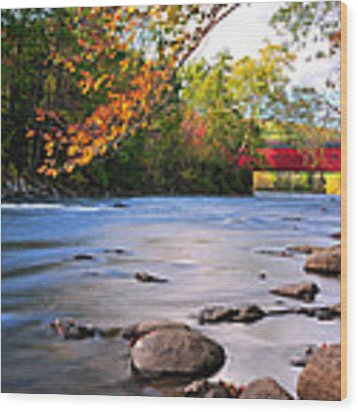 West Cornwall Covered Bridge- Autumn  Wood Print by Expressive Landscapes Fine Art Photography by Thom
