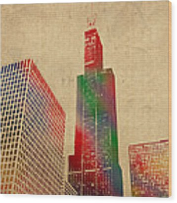 Willis Sears Tower Chicago Illinois Watercolor On Worn Canvas Series Wood Print by Design Turnpike