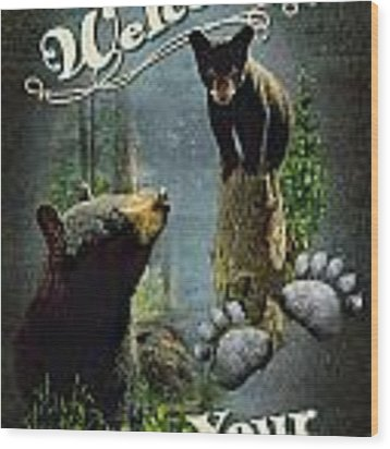 Wipe Your Paws Wood Print by JQ Licensing