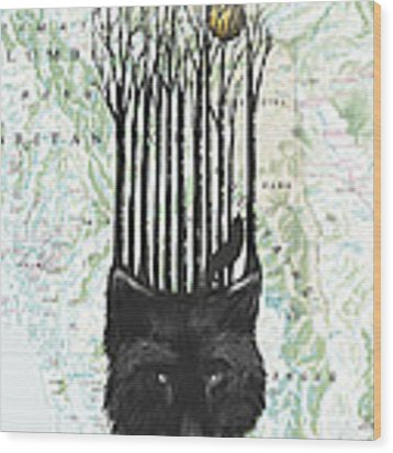 Wolf Barcode Wood Print