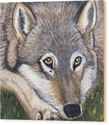 Wolf Wood Print by Patti Ferron