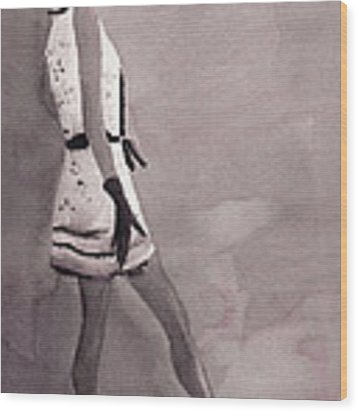 Woman In A Black And White Mini Dress Fashion Illustration Art Print Wood Print by Beverly Brown
