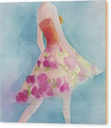 Woman In A Pink Flowered Skirt Fashion Illustration Art Print Wood Print