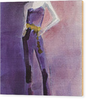 Woman In A Purple Jumpsuit Fashion Illustration Art Print Wood Print