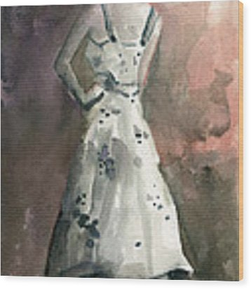 Woman In A White Dotted Dress Fashion Illustration Art Print Wood Print by Beverly Brown