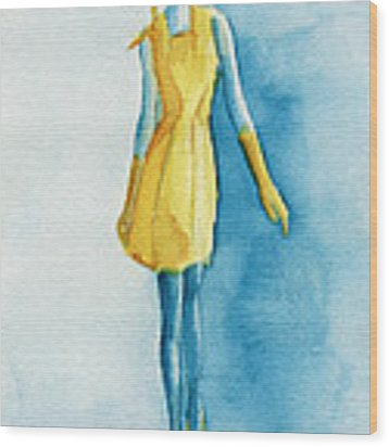 Yellow Ensemble - Watercolor Fashion Illustration Wood Print by Beverly Brown