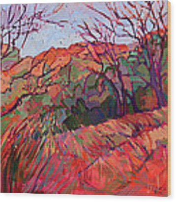 Zion Flame Wood Print by Erin Hanson