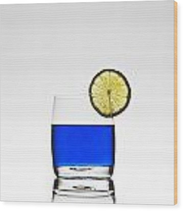 Blue Cocktail With Lemon Wood Print by Joana Kruse