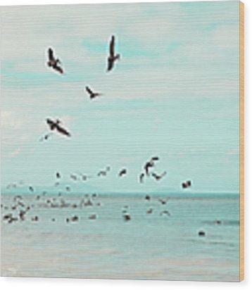 Birds In Flight Wood Print by Kim Fearheiley