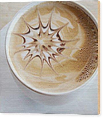 Coffee Art Wood Print by Kim Fearheiley