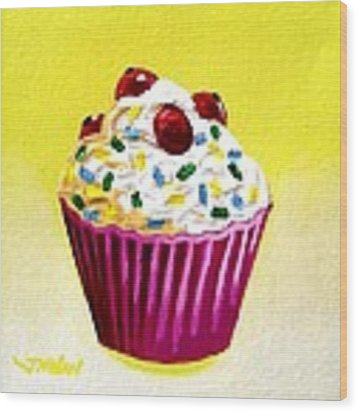 Cupcake With Cherries Wood Print