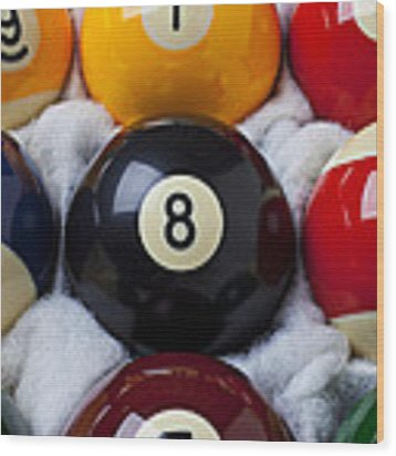 Eight Ball Wood Print by Garry Gay