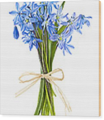 Blue Wildflower Bouquet Wood Print