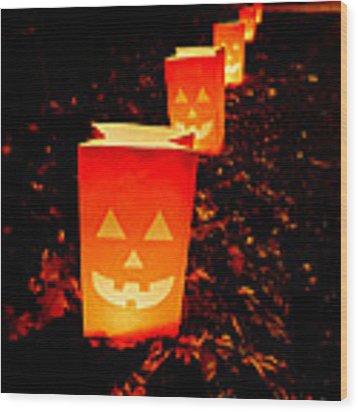 Halloween Paper Lanterns Wood Print