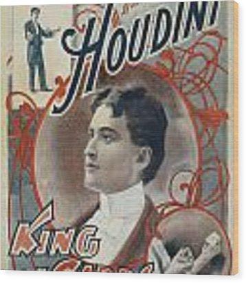 Harry Houdini King Of Cards Wood Print