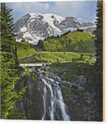 Myrtle Falls And Mount Rainier Mount Wood Print by Tim Fitzharris