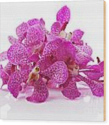 Purple Orchid Pile Wood Print by Atiketta Sangasaeng