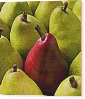 Red And Green Pears  Wood Print