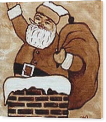 Santa Claus Gifts Original Coffee Painting Wood Print by Georgeta  Blanaru