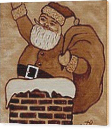 Santa Claus Is Coming Wood Print by Georgeta  Blanaru