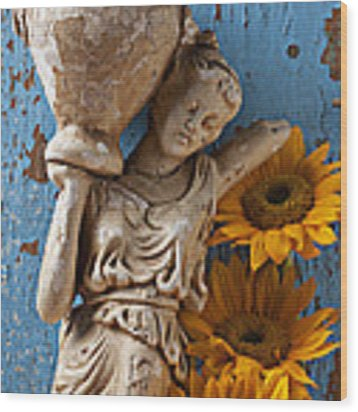 Statue Of Woman With Sunflowers Wood Print by Garry Gay