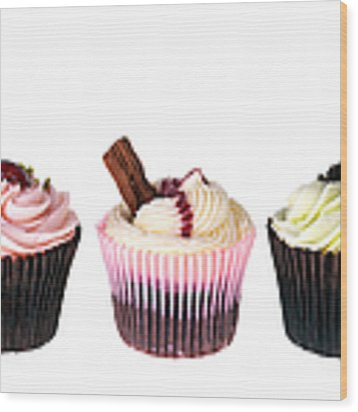 Three Cupcakes Wood Print