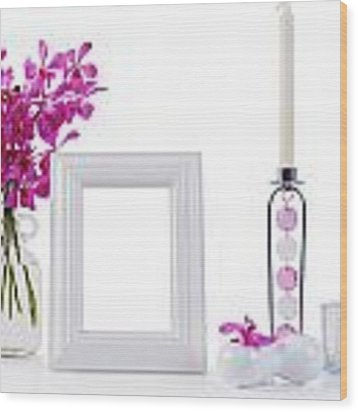 White Picture Frame In Decoration Wood Print by Atiketta Sangasaeng