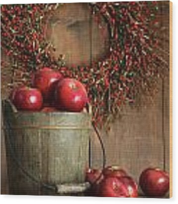 Wood Bucket Of Apples For The Holidays Wood Print by Sandra Cunningham