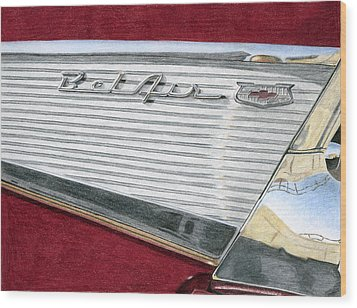 1957 Chevrolet Bel Air Convertible Wood Print by Rob De Vries
