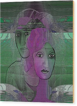 300 - Couple Purple - Green Wood Print by Irmgard Schoendorf Welch