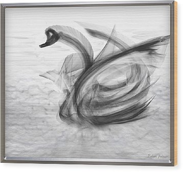 'a Fabric-ated Swan Melody ' Wood Print