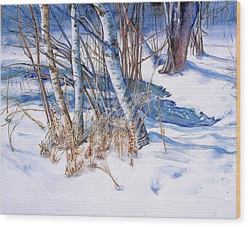 A Snowy Knoll Wood Print by June Conte  Pryor