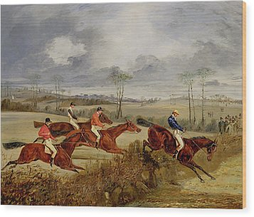 A Steeplechase - Near The Finish Wood Print by Henry Thomas Alken